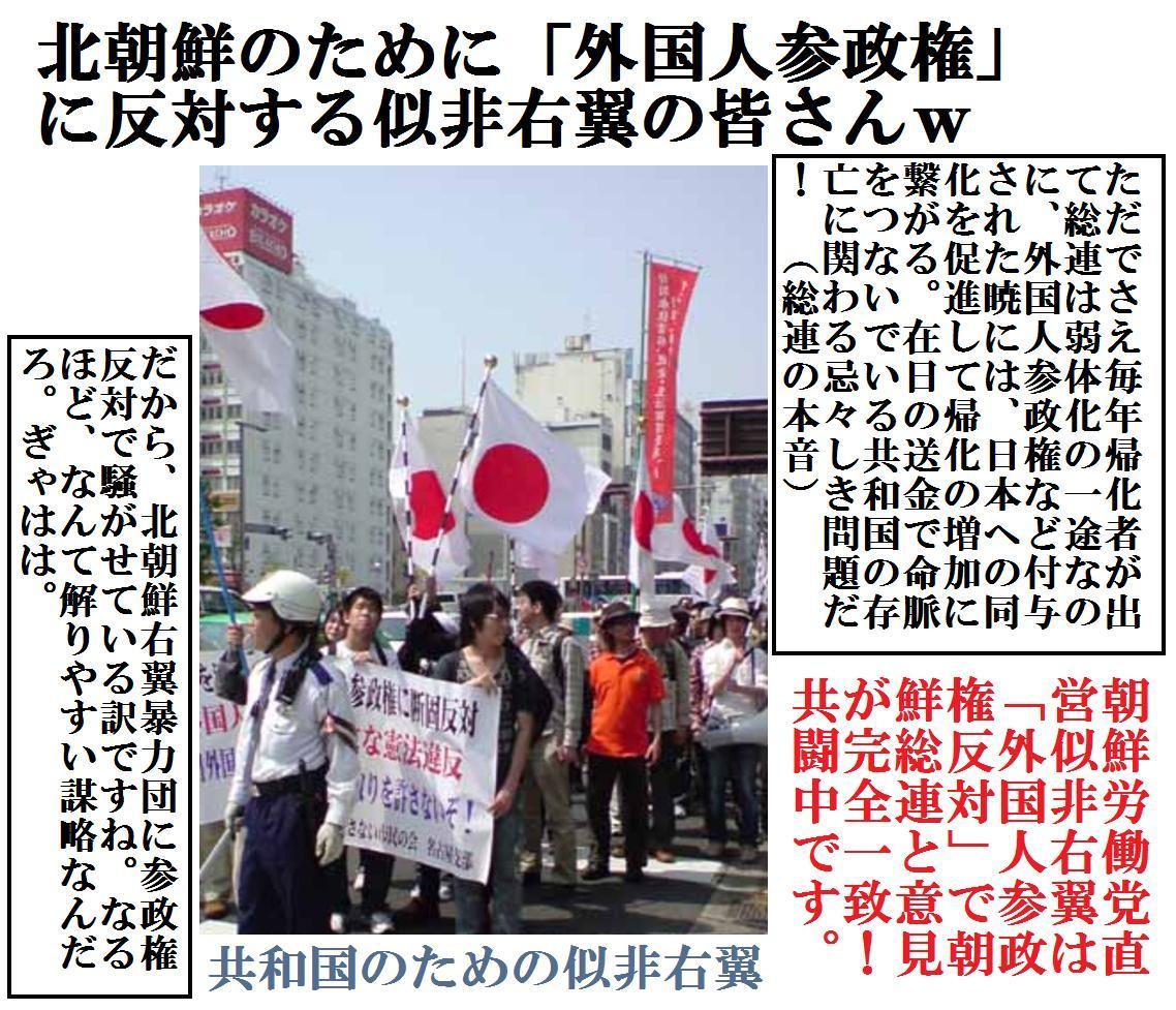 北朝鮮のための「外国人参政権反対運動」w
