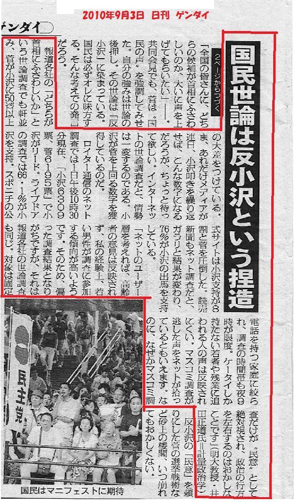 ネットでは小沢支持が圧倒的、新聞TVでは菅が優勢。どちらかが「捏造」。勿論、後者。
