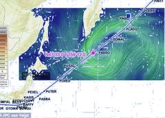 「赤く輝く海面」の目撃場所と渦を巻く風の位置関係