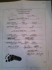 オバマの出生証明書(ケニヤの病院発行)